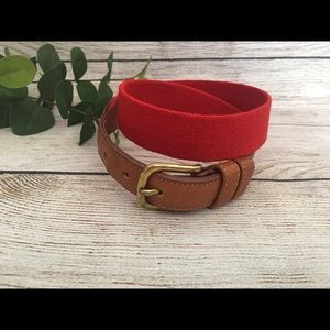 Coach Red Wool and Tan Leather Belt 28 in waist